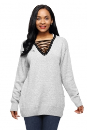 Gray Chic Long Sleeve Sweater with Lace up Neckline