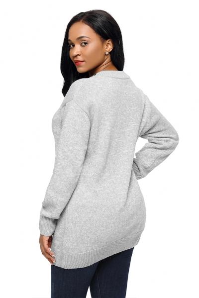 Gray Chic Long Sleeve Sweater with Lace up Neckline zekela.com