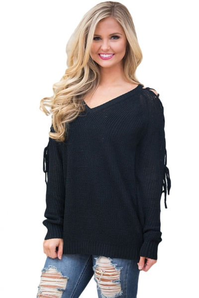 Black Lace up Shoulder Loose Fit Sweater Top