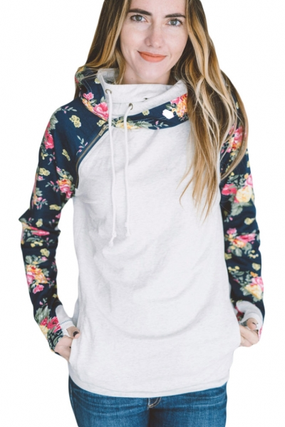 White Floral Raglan Sleeve Double Hooded Sweatshirt