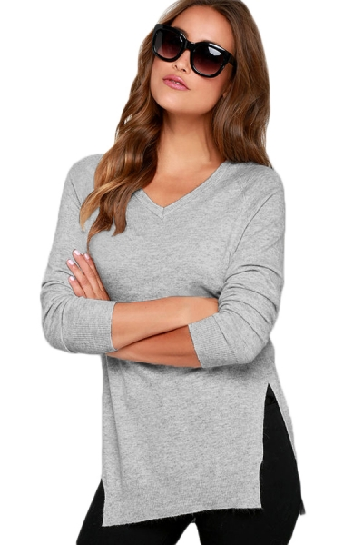 Heather Grey V Neck Sweater
