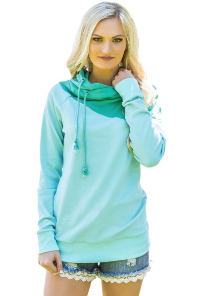 Green Duotone Chic Hooded Sweatshirt