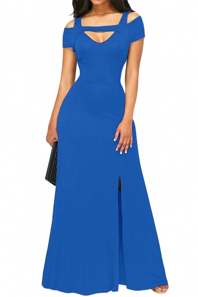 Royal Blue Cold Shoulder Front Slit Flare Maxi Dress