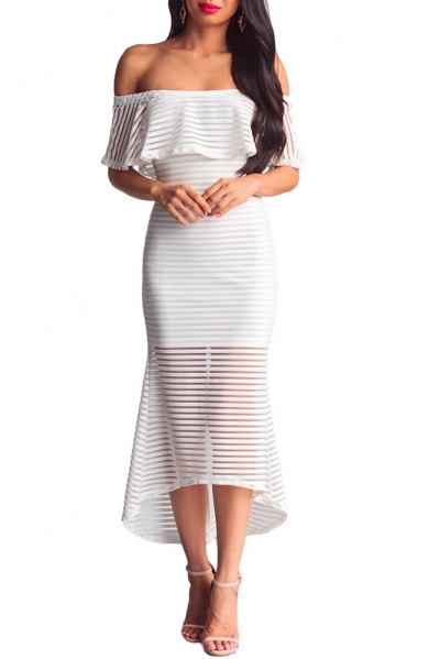 White Sheer Mesh Striped Overlay Slinky Party Dress