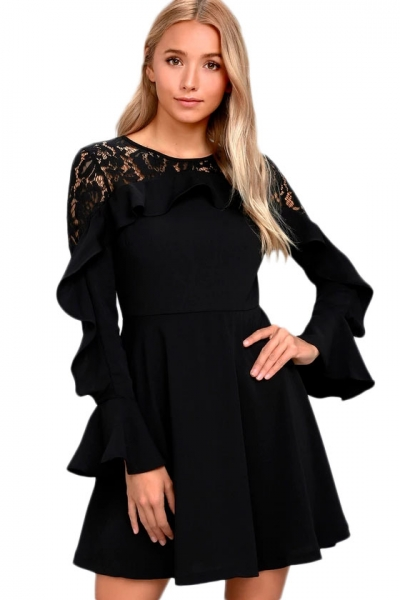 Black Lace Long Sleeve Skater Dress
