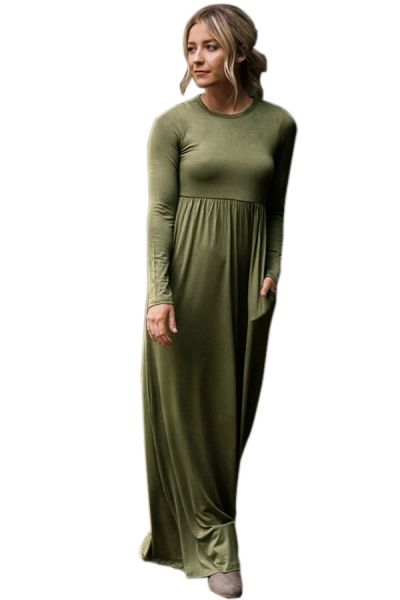 Olive Long Sleeve High Waist Maxi Jersey Dress