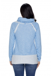 Light Blue Raw Edge Cowl Neck Pullover Sweatshirt