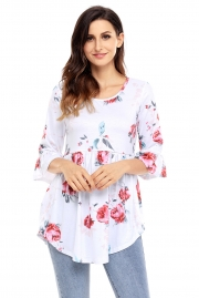 White Grounding Floral Print Babydoll Top