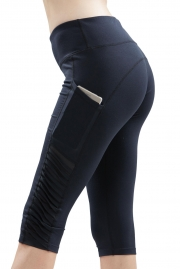 Black Pleated Side High Waist Workout Cropped Pants