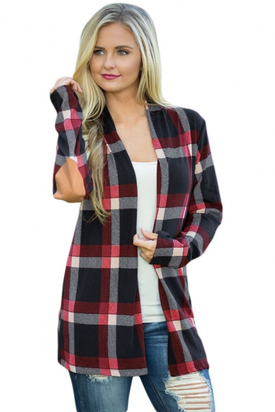 Black Suede Elbow Patch Long Sleeve Plaid Cardigan zekela.com