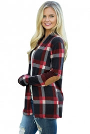 Black Suede Elbow Patch Long Sleeve Plaid Cardigan
