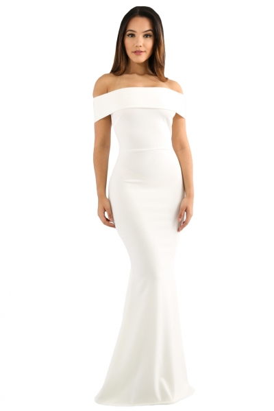 White Foldover Off Shoulder Slinky Long Party Dress