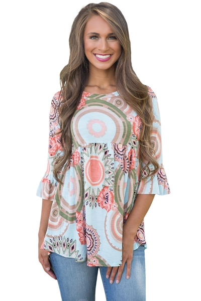 Light Blue Grounding Floral Print Babydoll Top