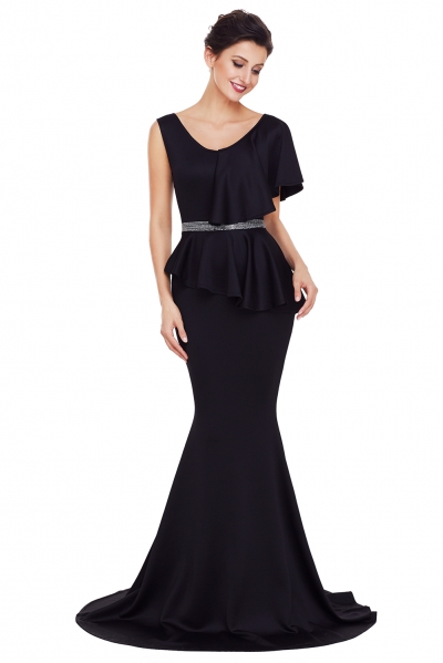 Black Asymmetric Ruffle Peplum Mermaid Party Dress