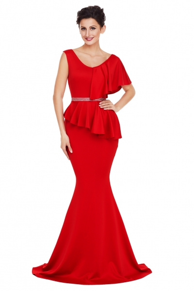 Red Asymmetric Ruffle Peplum Mermaid Party Dress