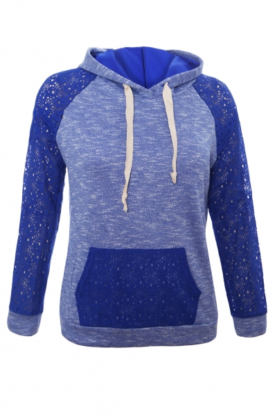 Royal Blue Lace Accent Kangaroo Pocket Hoodie