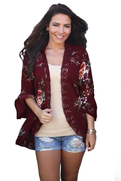 Red Bell Sleeve Floral Kimono with Lace Detail