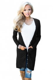 Black Ribbed Hi Low Long Cardigan with Pockets