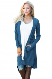 Navy Blue Ribbed Hi Low Long Cardigan with Pockets