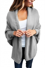 Grey Chunky Knit Open Front Dolman Cardigan