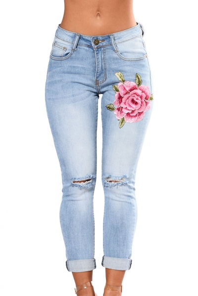 Rose Embroidered Knee Distress Light Wash Skinny Jeans