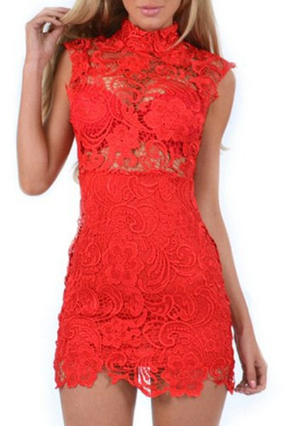 Red Lace Hollow-out Mini Vintage Dress