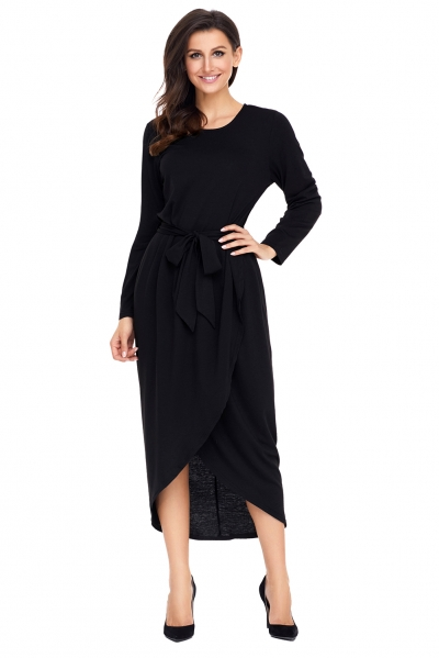 Black Tulip Faux Wrap Sash Tie Jersey Dress