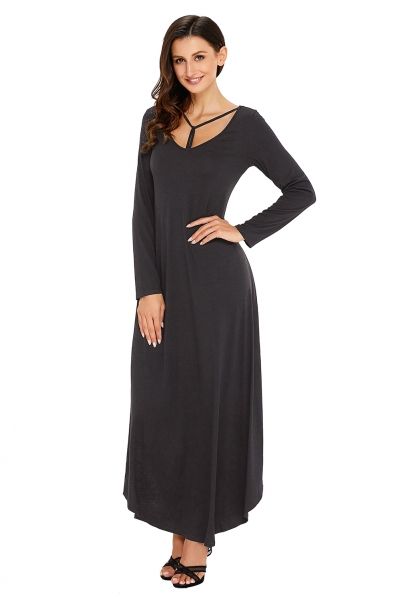 Black Y Strap Neckline Relaxed Long Jersey Dress