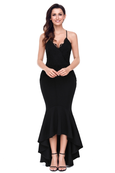 Black Crisscross Spaghetti Straps Hi-low Mermaid Dress