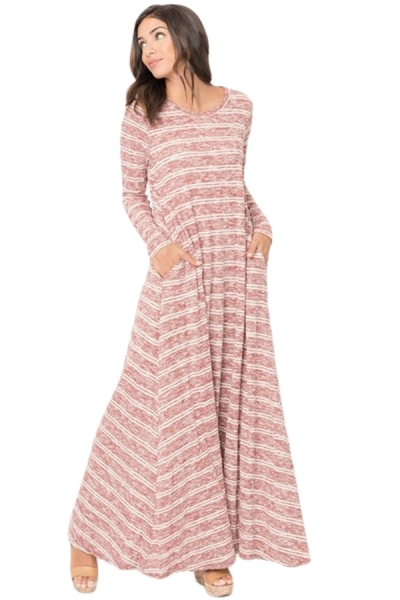 Purplish Red Striped Pocket Maxi Dress