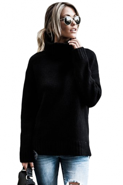 Black Causal Knit High Neck Loose Sweater