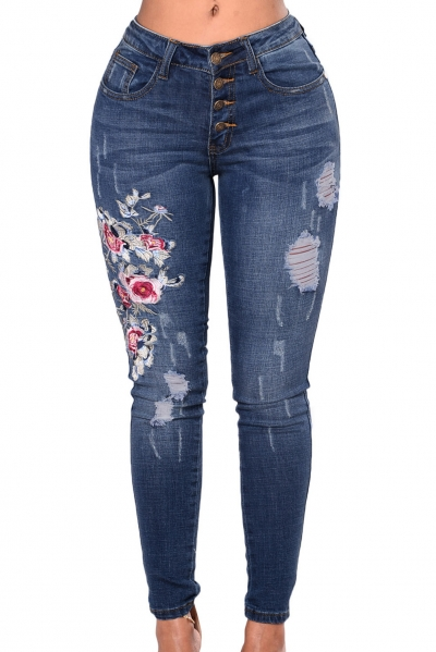 Floral Embroidered Whisker Detail Skinny Jeans
