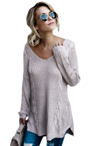 Gray Modern Lady Cable Knit Sweater