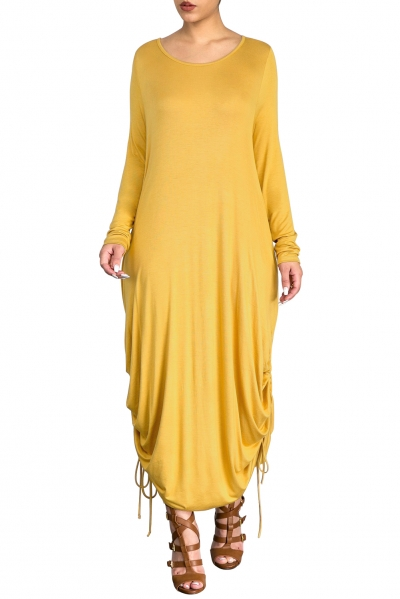 Yellow Shirring Gathered Side Drape Bubble Jersey Dress