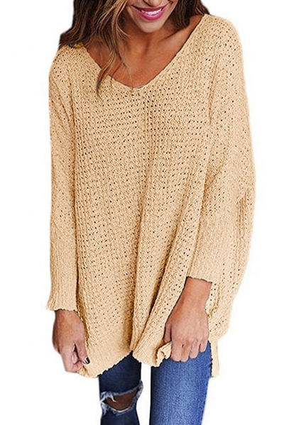 Khaki Oversized Long Sleeve Knitted V-Neck Sweater