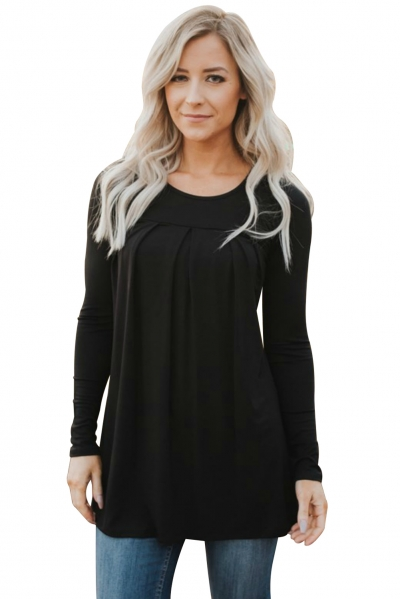 Black Pleated Flowy Long Sleeve Top