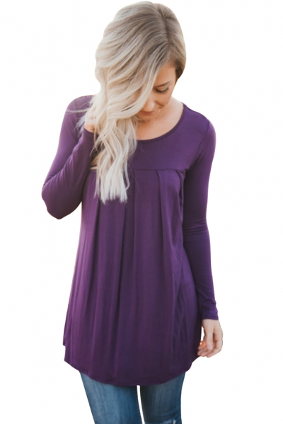Purple Pleated Flowy Long Sleeve Top