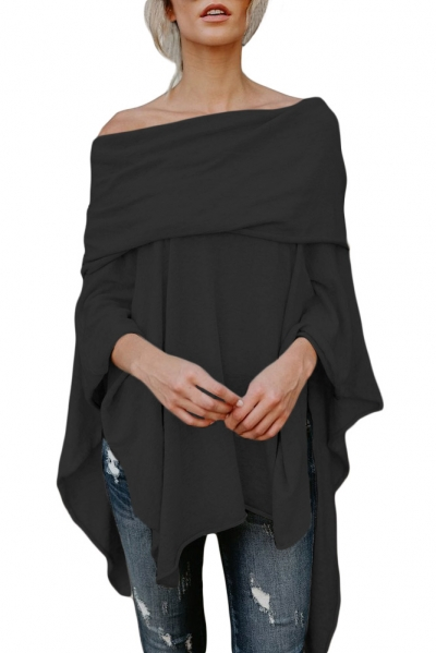 Black Irregular Off Shoulder Dip Hem Casual Blouse