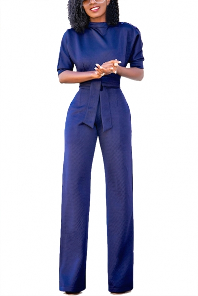 Navy Blue Slanted One Shoulder Wide Leg Jumpsuit