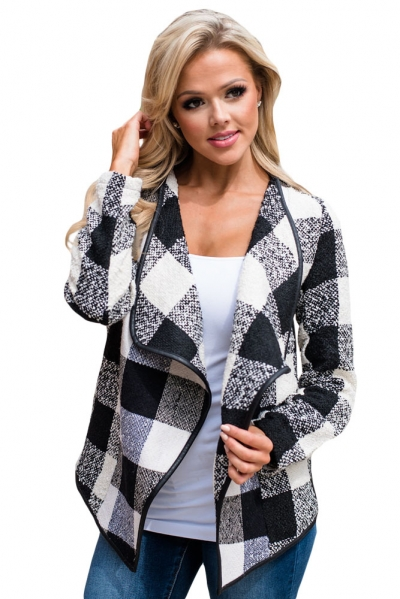 Black White Plaid Open Front Jacket
