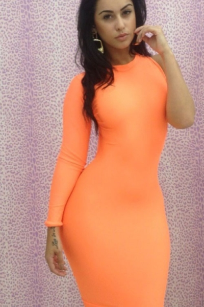 Neon Orange Clubwear One-shoulder Bodycon Dress