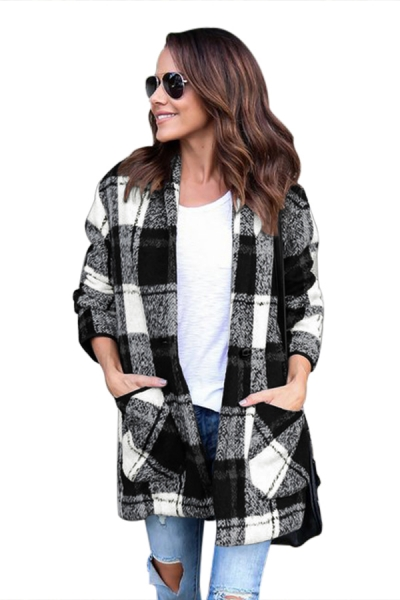 Black White Plaid Pocket Style Coat