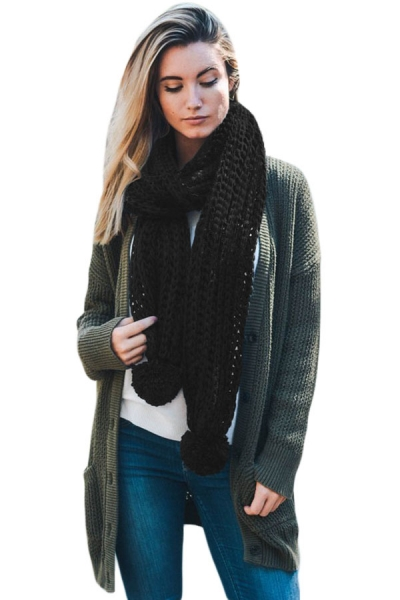 Black Pom Pom Ribbed Knit Scarf