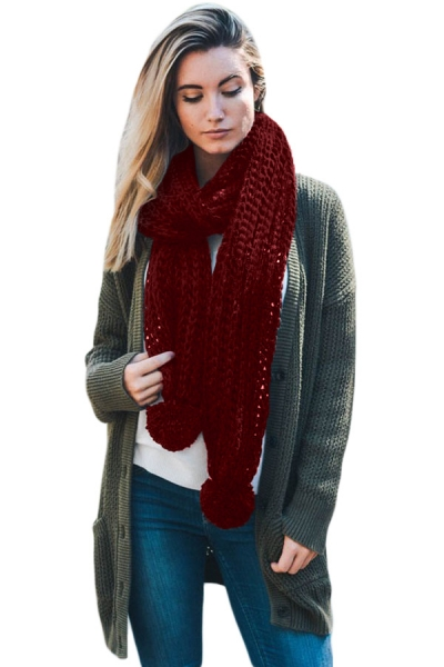 Burgundy Pom Pom Ribbed Knit Scarf