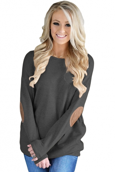 Black Elbow Patch Sweatshirt