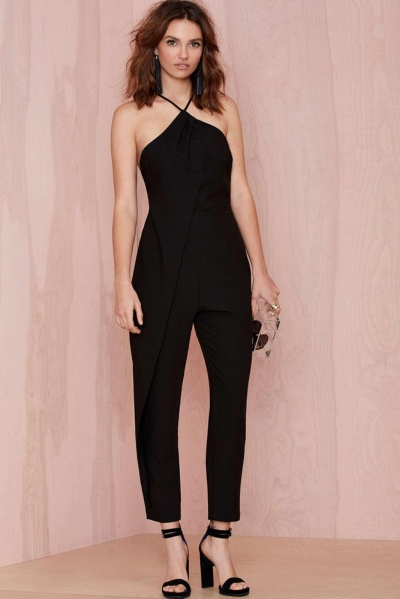 Strappy Cutout Sexy Black Jumpsuit
