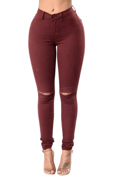 Brown Trendy Slit Knee Denim Pants
