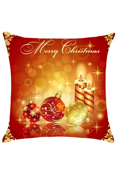 Decorative Balls&Candles Merry Christmas Pillowcase