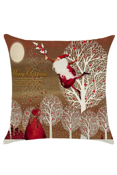 Jumping Father Christmas Cartoon Print Pillowcase