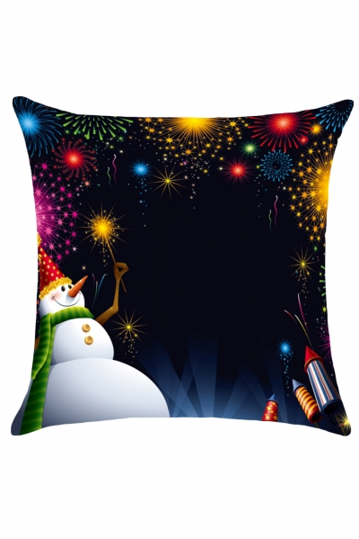 Colorful Firework Christmas Snowman Pillow Cover